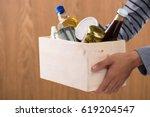 volunteer with donation box... | Shutterstock . vector #619204547