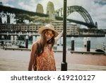 woman posing in sydney city... | Shutterstock . vector #619210127