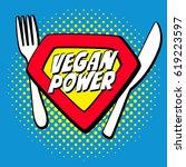 vegan power logo symbol emblem...   Shutterstock .eps vector #619223597