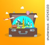 travel concept with open... | Shutterstock .eps vector #619243103