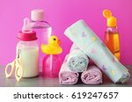 accessories for baby diapers on ... | Shutterstock . vector #619247657