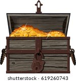 old  shabby open pirate chest... | Shutterstock .eps vector #619260743