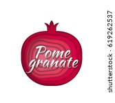 paper art pomegranate. vector... | Shutterstock .eps vector #619262537