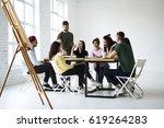attractive male and female...   Shutterstock . vector #619264283