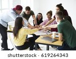 group of skilled male and... | Shutterstock . vector #619264343