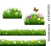 summer flowers with butterfly  | Shutterstock . vector #619269353