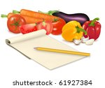 notepad with recipe  garlic ... | Shutterstock .eps vector #61927384