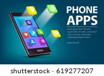 phone with colorful application ... | Shutterstock .eps vector #619277207