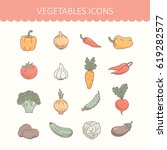 icons of vegetables. cooking... | Shutterstock .eps vector #619282577