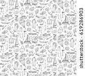 seamless pattern hand drawn... | Shutterstock .eps vector #619286903