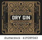 gin label with floral frame   Shutterstock .eps vector #619289363