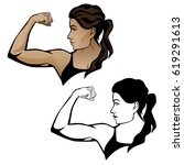 female fitness woman flexing... | Shutterstock .eps vector #619291613
