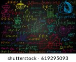 mathematical colorful formulas... | Shutterstock .eps vector #619295093