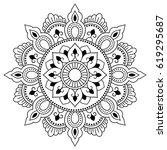henna tatoo mandala. mehndi... | Shutterstock .eps vector #619295687