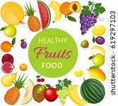 healthy fruits and vegetarian... | Shutterstock .eps vector #619297103