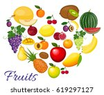 heart fruits. eco food menu... | Shutterstock .eps vector #619297127
