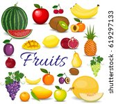set of colorful cartoon fruits. ... | Shutterstock .eps vector #619297133