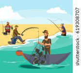 cartoon fisherman standing in... | Shutterstock .eps vector #619308707