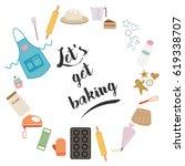 baking theme vector... | Shutterstock .eps vector #619338707