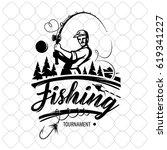 vintage fishing logos  emblems  ... | Shutterstock .eps vector #619341227