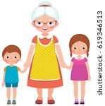 grandmother with glasses and an ...   Shutterstock .eps vector #619346513