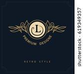 line art monogram luxury design ... | Shutterstock .eps vector #619349357