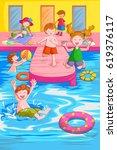 vector design of kids playing... | Shutterstock .eps vector #619376117