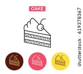 piece of cake  line icon.  flat ... | Shutterstock .eps vector #619378367