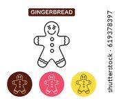 gingerbread man icon. christmas ... | Shutterstock .eps vector #619378397