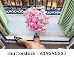 perfect female legs wearing... | Shutterstock . vector #619390337