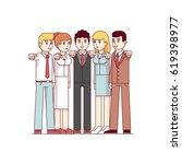 standing group of business men  ... | Shutterstock .eps vector #619398977