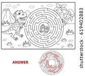 help dinosaur find path to nest.... | Shutterstock .eps vector #619402883
