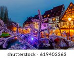 french city colmar on christmas ... | Shutterstock . vector #619403363
