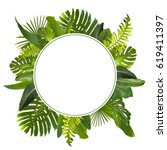 tropical jungle leaves... | Shutterstock . vector #619411397