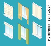 isometric windows  curtains ... | Shutterstock .eps vector #619413317