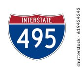 interstate highway 495 road sign | Shutterstock .eps vector #619424243