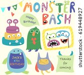 birthday party set with cute... | Shutterstock .eps vector #619448927