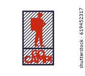 vintage red blue emblem of a... | Shutterstock .eps vector #619452317