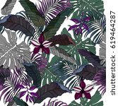 seamless tropical jungle leaves ... | Shutterstock . vector #619464287