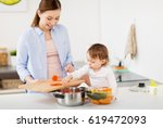 family  food  healthy eating ... | Shutterstock . vector #619472093