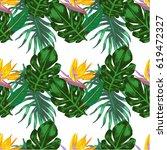 seamless tropical pattern  hand ... | Shutterstock . vector #619472327
