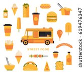 set of flat icons to the food... | Shutterstock .eps vector #619476347