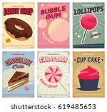 candy shop retro posters or... | Shutterstock .eps vector #619485653