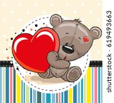 greeting card cute teddy bear... | Shutterstock . vector #619493663