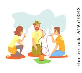 young cool people smoking... | Shutterstock .eps vector #619510043