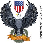 american eagle with usa flags | Shutterstock .eps vector #619512497
