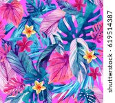 watercolor exotic leaves and... | Shutterstock . vector #619514387
