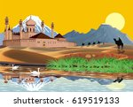 the arab fortress on the shore... | Shutterstock .eps vector #619519133