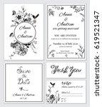 vintage flower wedding... | Shutterstock .eps vector #619521347