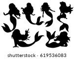 silhouette of a mermaid... | Shutterstock .eps vector #619536083